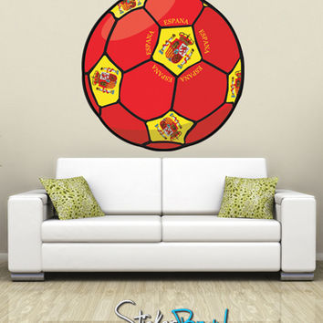Graphic Wall Decal Sticker Football Soccer Espana Spain #JH128