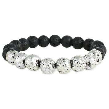 Silver Dimpled Bead & Black Lava Bead Essential Oil Diffuser Stretch Bracelet