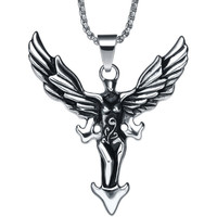 Stainless Steel Winged Angel Pendant Necklace