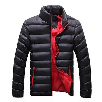 Winter Jacket Men 2017 Fashion Stand Collar Male Parka Jacket Mens Solid Thick Jackets and Coats Man Winter Parkas