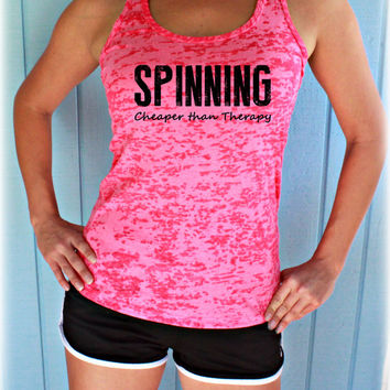 9d2e617007495 Spinning Cheaper Than Therapy Workout Tank Top. Cute Womens Workout  Clothing. Gym Moti