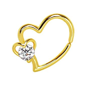 Gold Plated Heart WildKlass Cartilage Earring with Jeweled Heart