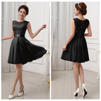 Black Lace Sleeveless Princess Pleated Mini Dress