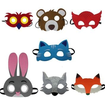 Special 7 Assorted  Animals Felt Masks for birthday party Christmas cosplay Favor Home Party  baby toys boy costumes anime