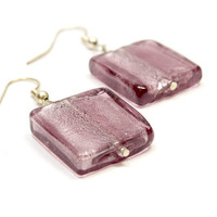 Large Purple Square Earrings. Dichroic Style Purple Earrings. Silver Highlights and Purple Bead Earrings. Silver Interior Glass Jewelry.