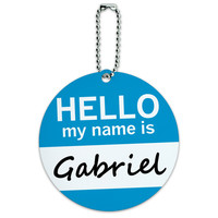 Gabriel Hello My Name Is Round ID Card Luggage Tag