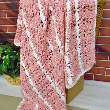 Pink Striped Blanket Handmade Crochet Afghan, Gift For Women Girls Teens, Soft Pink Knitted Blanket Couch Throw