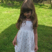 Unique beautiful handmade knitting white dress with lace pattern for girls