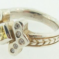 Platinum Silver Art Deco Canary Yellow Sapphire and Diamond Ring