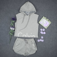 Calvin print Fashion women sleeveless sweater set Hedging Hooded pullover