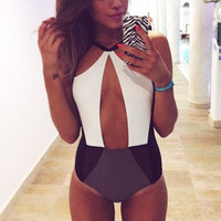 Stylish Lady Women Sexy Strap Hollow Splicing Color Swimsuit One Piece Beach Swimwear