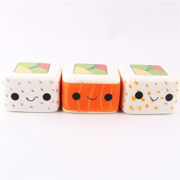 Cute Simulation Japanese Square Rice Ball Sushi Squishy Soft Toys Squeeze Phone Strap DIY Decor for Kids Gift Toy P2