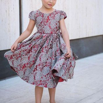 (Sale) Size 7/8 Red Chantilly Lace Pattern Jacquard Girls Dress w. Pleated Skirt