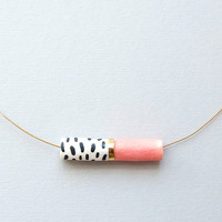 Tube Necklace with Gold in Peach by Jode Pankhurst