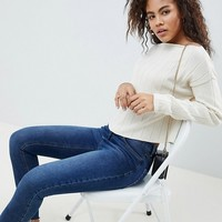 ASOS DESIGN Tall off shoulder cropped jumper in oversized rib at asos.com
