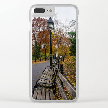 NYC Benches & Trees Clear iPhone Case by audrey_ross