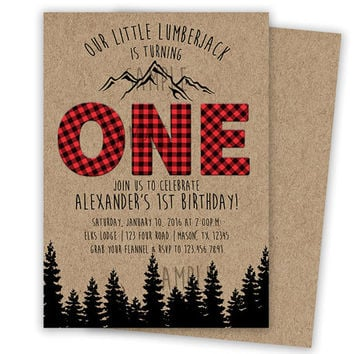 Lumberjack Birthday Invitation - 1st Birthday ONE Invite Boy - Red buffalo Plaid Lumber Jack Party Invitations - Mountain Trees Forest Brown