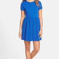 Junior Women's One Clothing Textured Knit Skater Dress,
