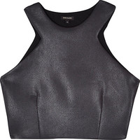 River Island Womens Black leather-look cut away crop top