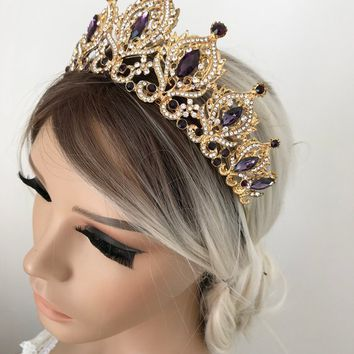 Gold Purple Tiara Bridal Crown Crystal Wedding Tiara Wedding Hair Accessory Wedding Headpiece Bridal Hairpiece Swarowski Crystals
