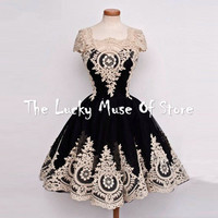 Vintage 1950s Lace 6 Tea Length Party Cockatil Dresses 2017 vestido curto Ball Gown Cap Sleeves Prom Homecoming Dress Custom
