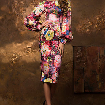 Floral sheath dress, midi dress, knee length bodycon dress, spring summer dress, exclusive dress, puff sleeve dress, pencil dress 2016