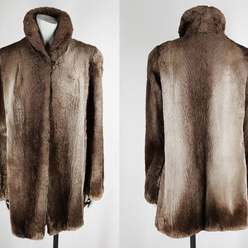 Vintage 40s Coat / 1940s Brown Ombre Sheared Phantom Beaver Fur Swing Coat M L