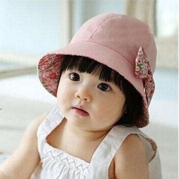 New Arrival Princess Baby Infant Girls Lace Cotton Hat Reversible Floral Bowknot Flower Bonnet Hats Sun Cap Bucket PY