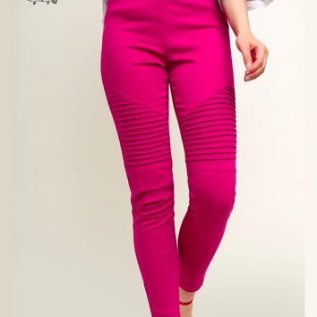 Denim Twill Moto Jeggings - Magenta