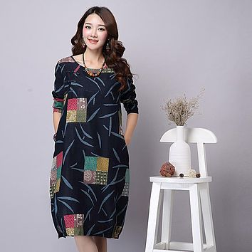 Autumn Dress Plus Size Women Clothing Loose Waist Vintage Dress Long Sleeve Patchwork Casual Cotton Linen Dress One Piece