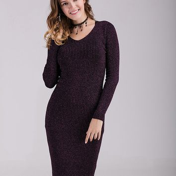 Black Slim Sweater Dress