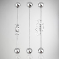 16 Gauge Steel Brass Knuckle Industrial Barbell 3 Pack