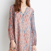 Paisley V-Placket Shift Dress