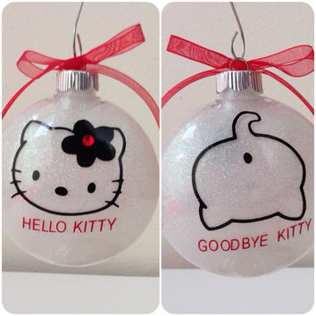 HELLO KITTY, PERSONALIZED Ornament, funny ornament,white glitter, personalized gift, Christmas gift,