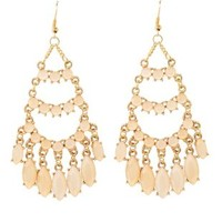 Faceted Stone Chandelier Earrings by Charlotte Russe - Pale Peach