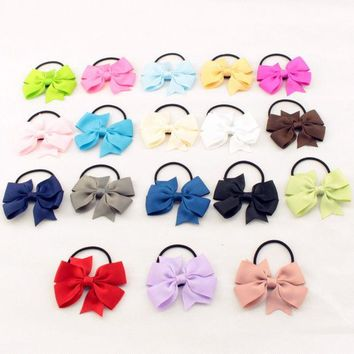 DCCKL3Z Fashion Cute Ribbon Bow Elastic Hair Bands Rope Hair Accessories Gift 20 Colors