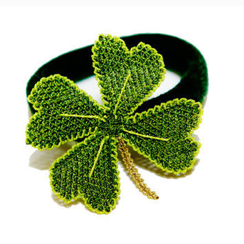 Eco friendly hair accessory, ponytail lucky clover, embroidered lace, boho hair ties, go green, lucky charm St Patricks day, TAGT