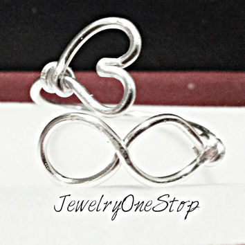 Infinity heart ring wire