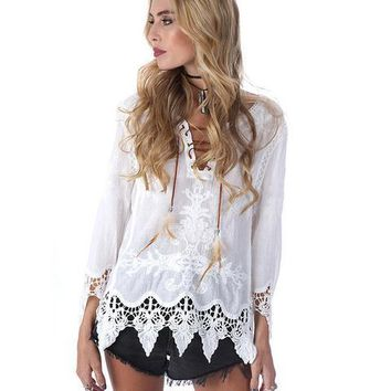 Fashion Hollow Lace Trumpet Sleeve Shirt