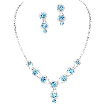 Stunning Y Drop Evening Party Aqua Blue Crystal Bridal Bridesmaid Necklace Earring A4