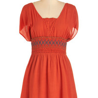 ModCloth Boho Short Length Short Sleeves A-line Can You Field the Beat? Dress