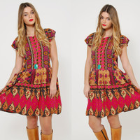 Vintage 80s ETHNIC Mini Dress Printed BOHO Dress Festival Style Hippie Dress Fuchsia BATIK Dress