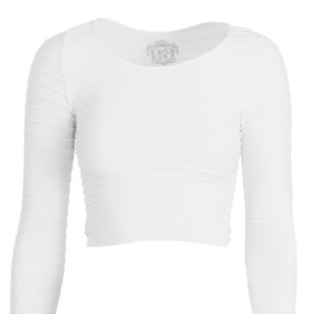 Seamless Ribbed 3/4 Sleeve Crop Top White