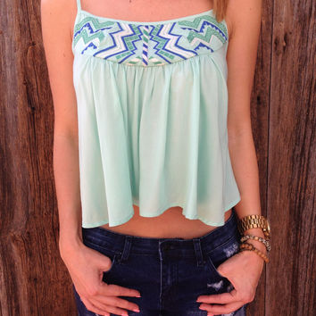 Sea Breeze Embroidered Top