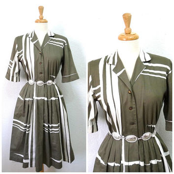 Vintage 80's dress Cotton Olive & White Petites by Willi 50's design Geometric Shirtwaist dress S/M
