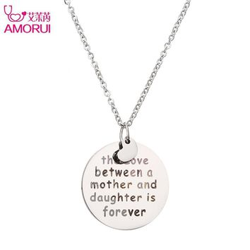 AMORUI Stainless Steel Silver Heart Necklace love between Mother and Daughter is Forever Pendant Necklace for Women Mother Gift