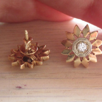RESERVED Vintage Old Cut Diamond Stud Earrings Sunburst Earrings Pierced Screw On Post Backs Threaded Backs Art Deco