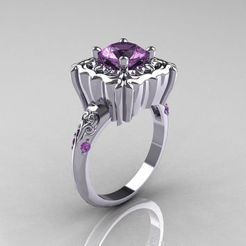 Modern Antique 14K White Gold 1.0 Carat Lavender Amethyst Engagement Ring AR116-14KWGLA