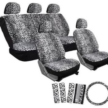 17pc set leopard animal print auto seat covers set - front low back buckets - rear split bench - white Case of 10