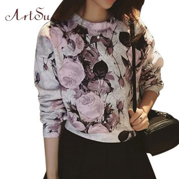 New 2016 Korean Autumn Fashion Style Vintage Floral Long Sleeve Pullovers Hoodies Casual Solid Print Women Sweatshirts EPHO80189